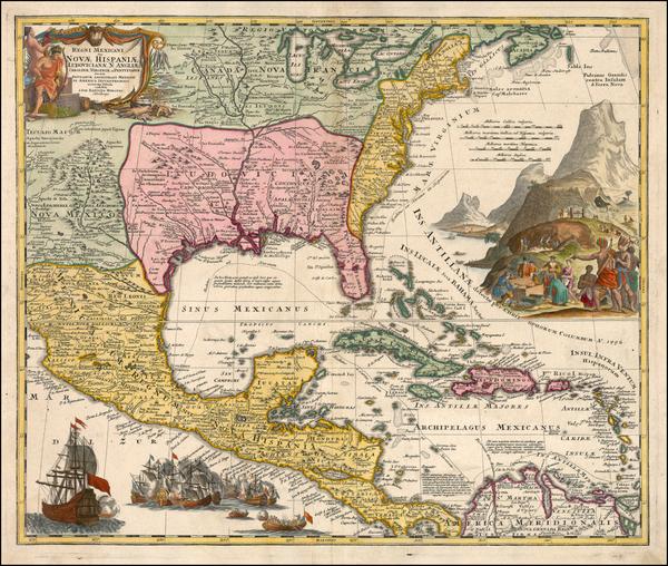 60-South, Southeast, Texas and Midwest Map By Johann Baptist Homann