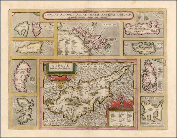 11-Europe, Italy, Greece and Balearic Islands Map By Abraham Ortelius
