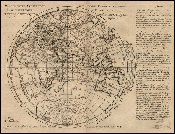 63-Eastern Hemisphere Map By Pierre Moullart Sanson