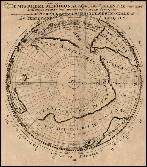 50-Southern Hemisphere, Polar Maps and New Zealand Map By Pierre Moullart Sanson
