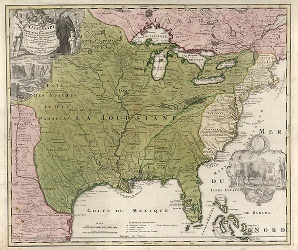 9-United States, South, Southeast and Midwest Map By Johann Baptist Homann