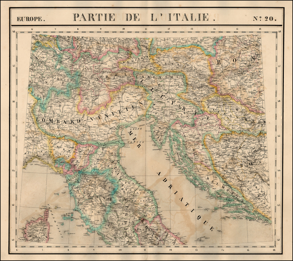 67-Europe, Balkans, Italy and Balearic Islands Map By Philippe Marie Vandermaelen