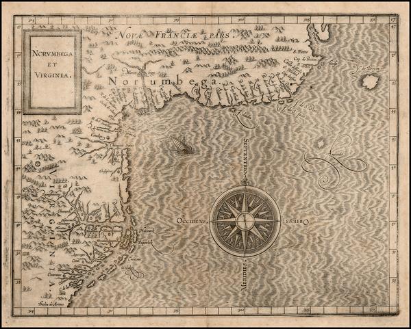 46-New England, Mid-Atlantic and Canada Map By Cornelis van Wytfliet
