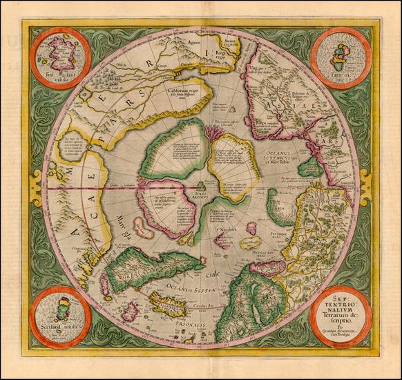 99-World, World, Polar Maps and Alaska Map By Gerard Mercator