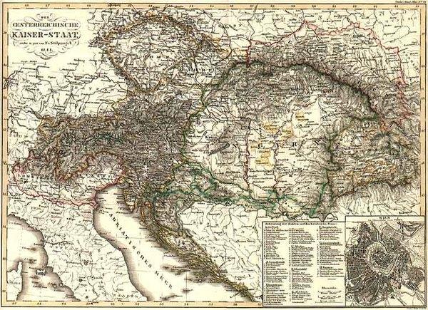 98-Europe, Austria, Hungary, Romania and Czech Republic & Slovakia Map By Adolf Stieler