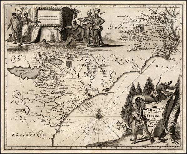 51-Mid-Atlantic and Southeast Map By John Ogilby / Arnoldus Montanus