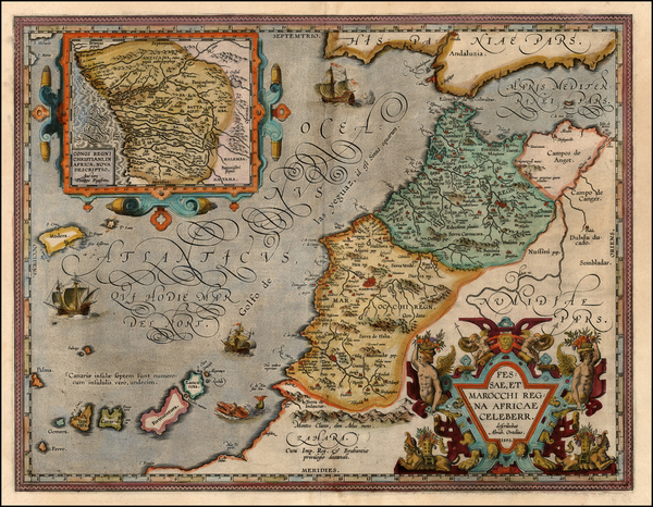70-Africa, North Africa and West Africa Map By Abraham Ortelius