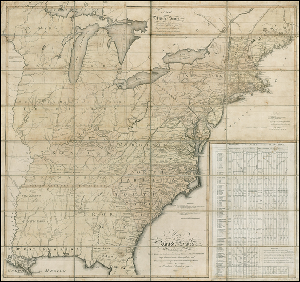 8-United States, New England, Mid-Atlantic, Southeast and Midwest Map By Abraham Bradley