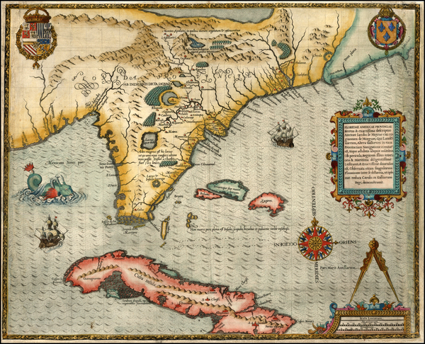 58-Florida, South, Southeast and Caribbean Map By Jacques Le Moyne