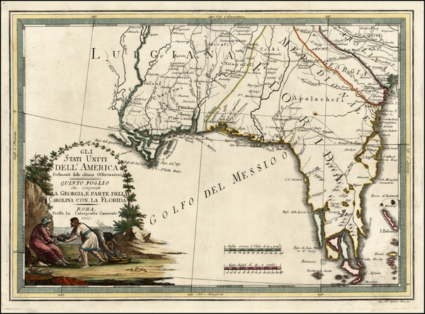 13-Florida and South Map By Giovanni Maria Cassini