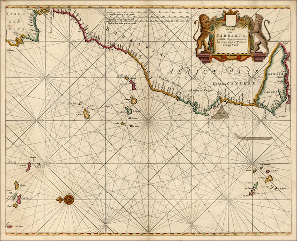 Spain, North Africa and West Africa Map By Pieter Goos