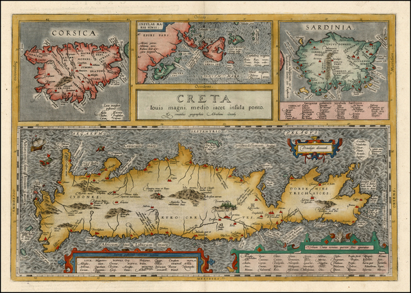 93-Europe, France, Italy, Mediterranean and Balearic Islands Map By Abraham Ortelius
