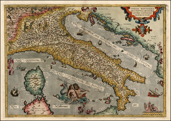 20-Europe, Italy, Mediterranean and Balearic Islands Map By Abraham Ortelius