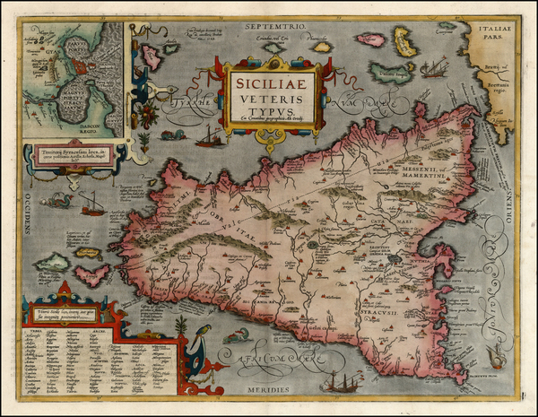 76-Europe, Italy and Balearic Islands Map By Abraham Ortelius