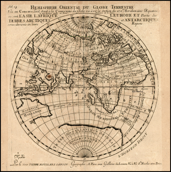 12-Eastern Hemisphere, Polar Maps, Asia, Africa and Australia Map By Pierre Moullart Sanson