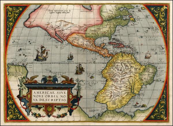 32-World, Western Hemisphere, South America and America Map By Abraham Ortelius
