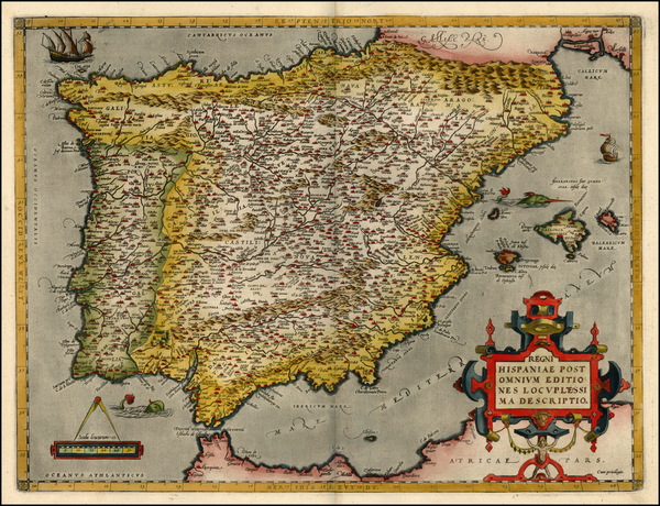 69-Europe, Spain and Portugal Map By Abraham Ortelius