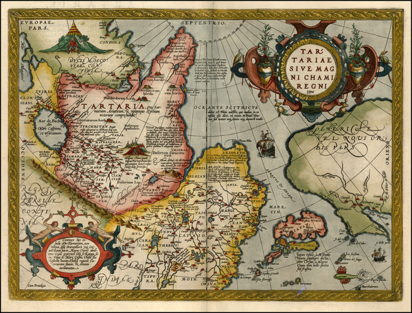 92-Asia, Japan, Central Asia & Caucasus and California Map By Abraham Ortelius
