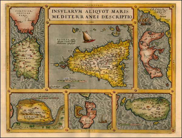 66-Europe, Italy, Greece, Mediterranean and Balearic Islands Map By Abraham Ortelius