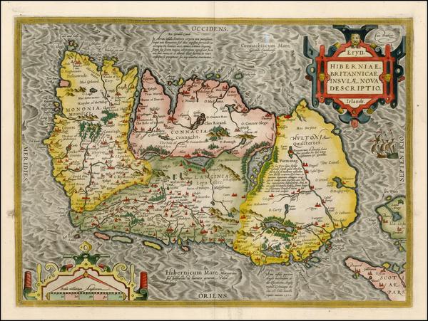 55-Ireland Map By Abraham Ortelius