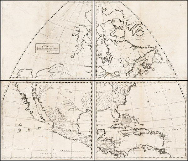58-Texas and North America Map By Giovanni Battista Nicolosi