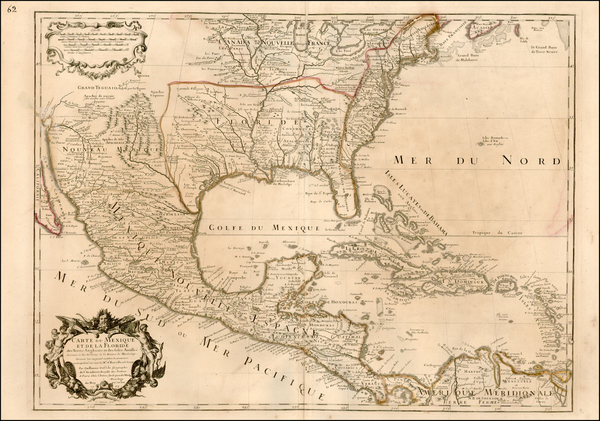 66-Southeast, Texas, Midwest, Southwest and Rocky Mountains Map By Guillaume De L'Isle
