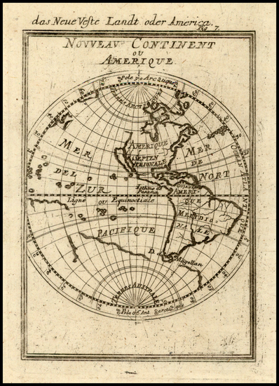 73-World, Western Hemisphere, South America and America Map By Alain Manesson Mallet