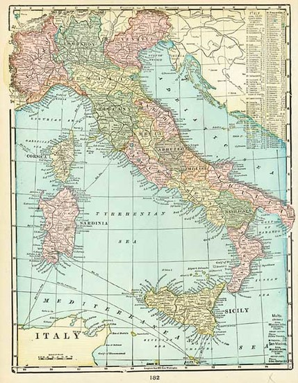 95-Europe and Italy Map By George F. Cram