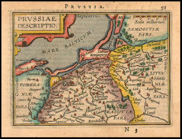 96-Germany, Poland and Baltic Countries Map By Abraham Ortelius / Johannes Baptista Vrients