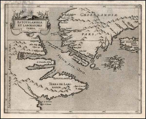 12-Polar Maps, Atlantic Ocean, Canada and Iceland Map By Cornelis van Wytfliet
