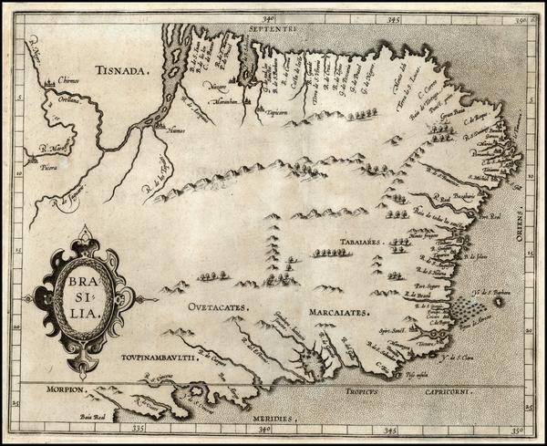 59-South America and Brazil Map By Cornelis van Wytfliet