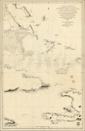 Caribbean, Cuba and Hispaniola Map By Direccion Hidrografica de Madrid