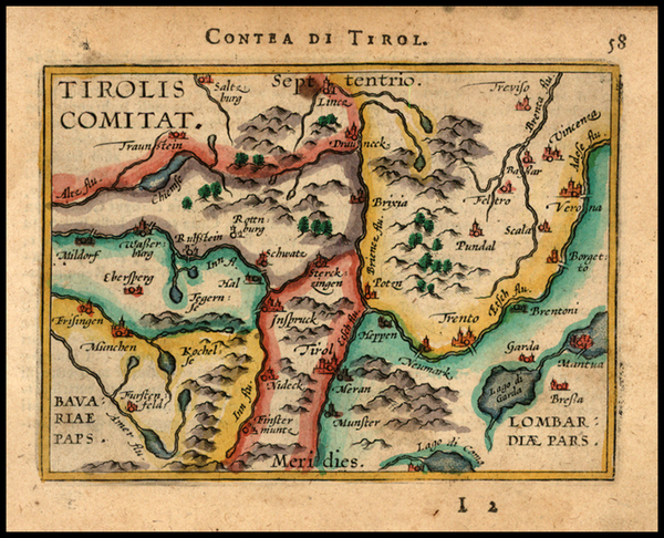 22-Austria and Italy Map By Abraham Ortelius / Johannes Baptista Vrients