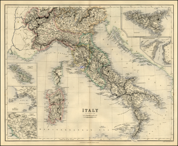 40-Italy Map By Archibald Fullarton & Co.