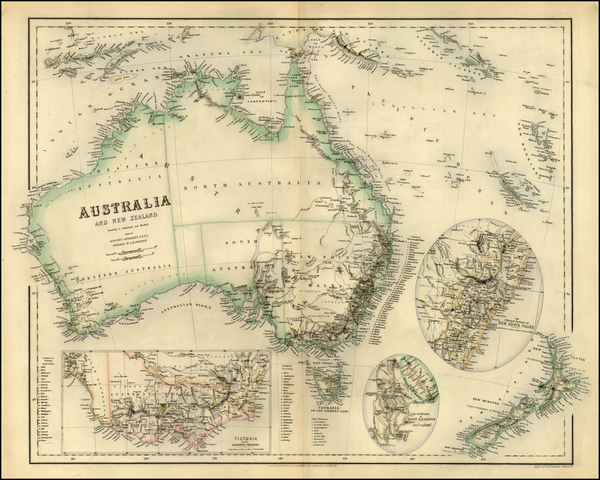 82-Australia & Oceania, Australia, New Zealand and Other Pacific Islands Map By Archibald Full