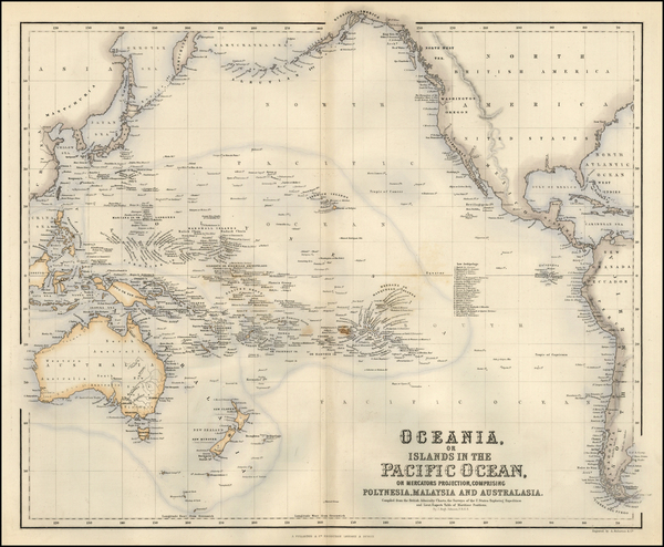 26-World, Australia & Oceania, Pacific, Oceania and Other Pacific Islands Map By Archibald Ful