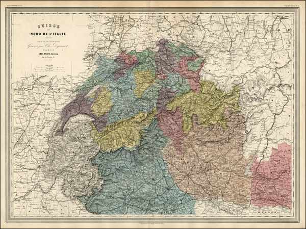 59-Switzerland and Italy Map By Adolphe Hippolyte Dufour