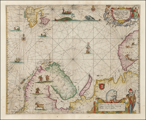 3-Polar Maps, Atlantic Ocean, Europe, Russia, Scandinavia and Balearic Islands Map By John Seller