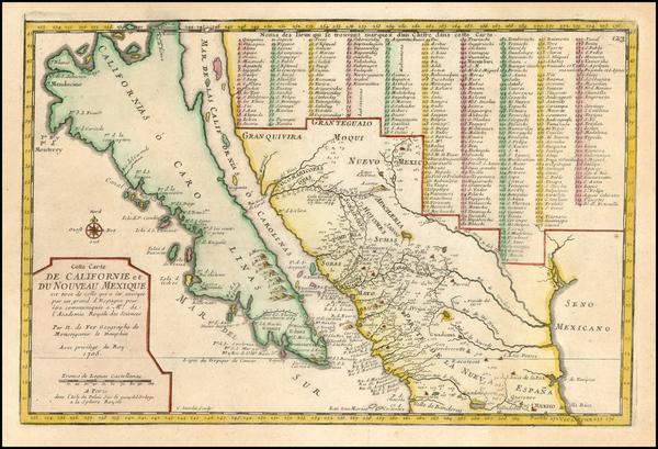 49-Baja California and California Map By Nicolas de Fer
