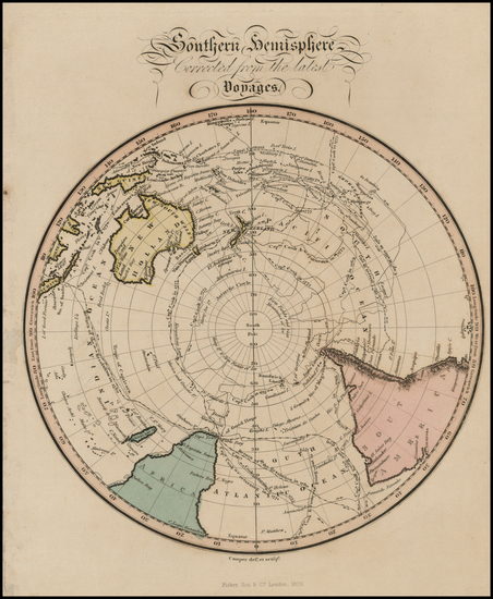 71-Southern Hemisphere, Australia and New Zealand Map By Fisher & Son