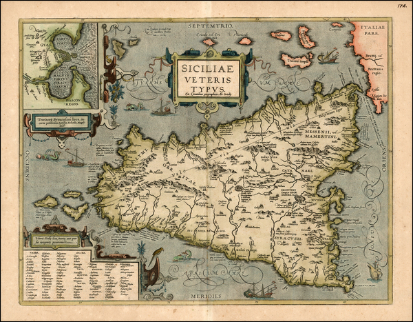 54-Europe, Italy and Balearic Islands Map By Abraham Ortelius