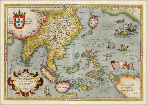 48-Alaska, China, Southeast Asia, Philippines, Australia and Oceania Map By Abraham Ortelius