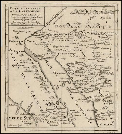 89-Southwest, Mexico, Baja California and California Map By Fr. Eusebio Kino / Inselin
