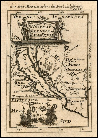 19-Mexico, Baja California and California Map By Alain Manesson Mallet