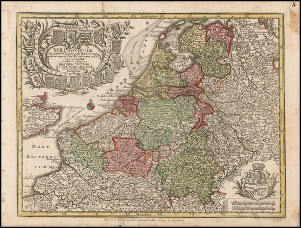 89-Luxembourg and Mediterranean Map By Matthaus Seutter