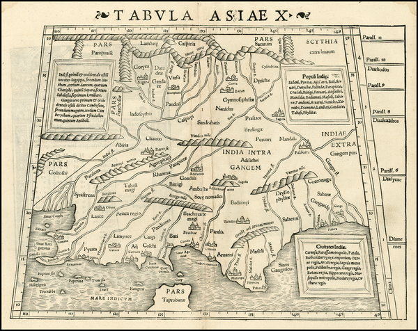 98-India and Central Asia & Caucasus Map By Sebastian Munster