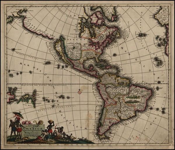 67-South America, Australia, Oceania, California and America Map By Justus Danckerts