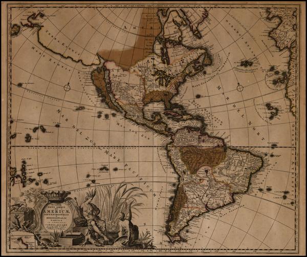 0-South America, Australia & Oceania, New Zealand, California and America Map By Carel Allard