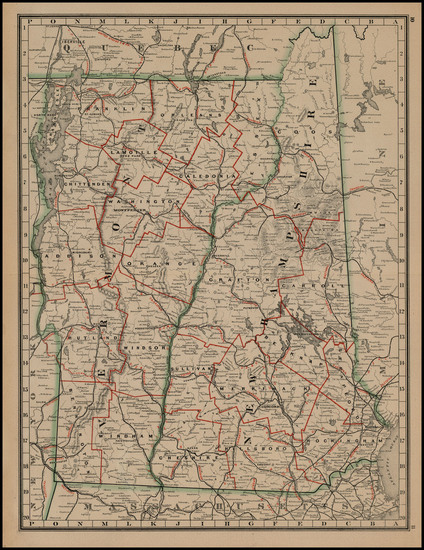 New England, New Hampshire and Vermont Map By George F. Cram