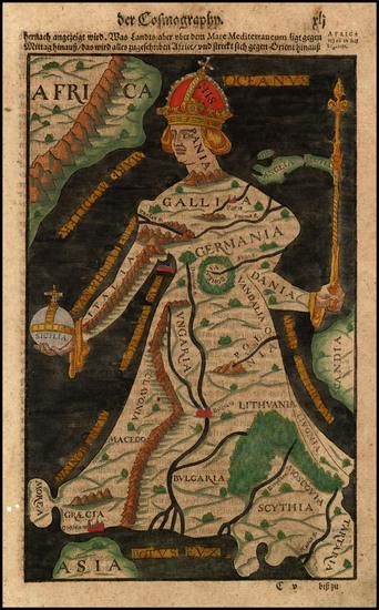 100-Europe Map By Sebastian Munster